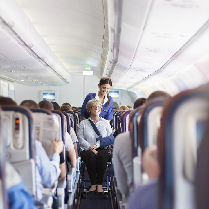 Airchair in aircraft aisle
