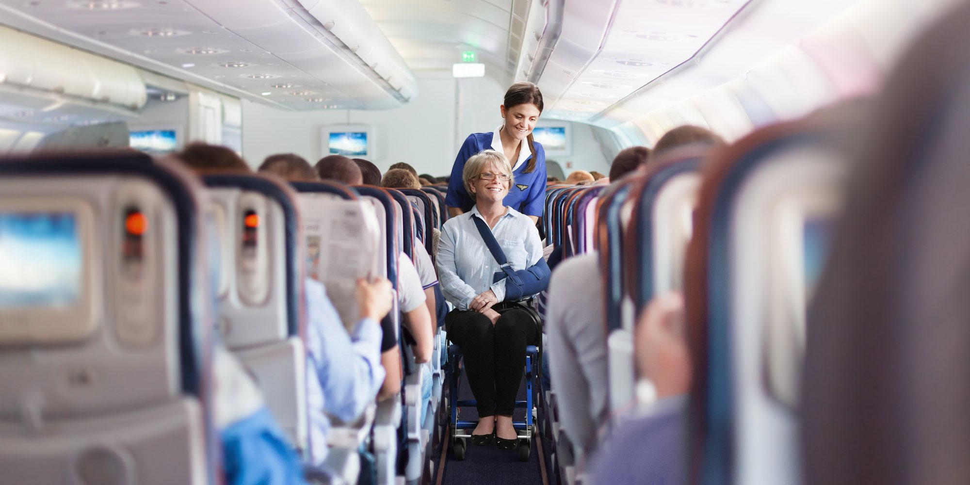 Airchair in use on-board aircraft